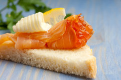 Salmon eggs in  smoked salmon Stock Images
