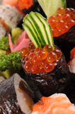 Salmon eggs sushi Stock Photos