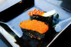 Salmon eggs sushi Stock Photo