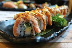 Salmon Engawa Roll en delicous het voedsel van Japan en Uitgezochte nadruk Royalty-vrije Stock Afbeelding