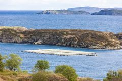 Salmon farm at Drumbeg, Highlands, Scotland. Outdoors, outside, exteriors, europe, western, great, britain, united, kingdom, uk, sutherland, nature, natural stock photography