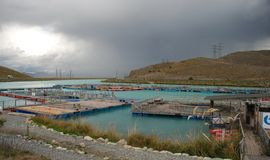 Salmon Farm in New Zealand Stock Image