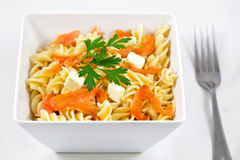 Salmon and feta pasta Stock Photo