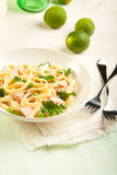 Salmon Fettuccine Royalty Free Stock Photos