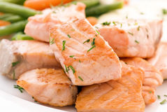 Salmon filet with Beans Royalty Free Stock Images