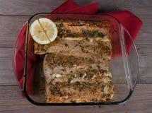 Salmon Filet with Lemon Stock Photography
