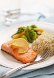 Salmon filet meal Royalty Free Stock Photo