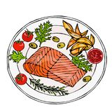 Salmon Filet on a Plate with Potato Wedges, Tomatoes and Herbs. Roasted Fish Cut. Seafood Logo. Sea Restaurant Menu. Festive Dinner. Hand Drawn Illustration Royalty Free Stock Photos