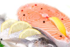 Salmon filet in supermarket Stock Photos