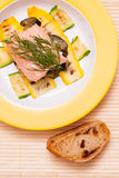 Salmon filet with vegetable and ciabatta Stock Images