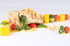 Salmon filet with vegetables Stock Image