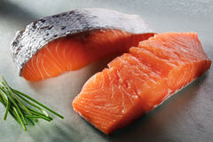 Salmon filets. On the table Royalty Free Stock Image