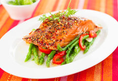 Salmon fillet with vegetables Royalty Free Stock Photo