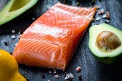 Free Salmon Fillet, Avocado And Lemon Royalty Free Stock Image - 66235326
