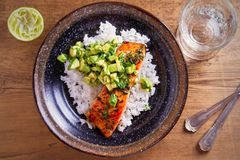 Salmon fillet with avocado lime coriander salsa, rice as a garnish. Overhead, horizontal royalty free stock photography