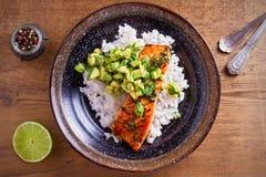 Salmon fillet with avocado lime coriander salsa, rice as a garnish. Overhead, horizontal royalty free stock photos