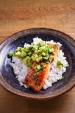 Salmon fillet with avocado lime coriander salsa, rice as a garnish. Vertical stock images