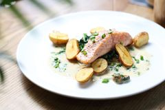 Salmon fillet with baked potatoes on a cream sauce with chives stock images