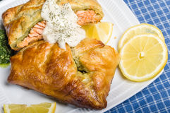 Salmon fillet baked in puff pastry wrap Royalty Free Stock Photo