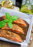 Salmon fillet with balsamic honey sauce, raw Royalty Free Stock Photos