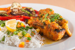 Salmon fillet with basmati rice Royalty Free Stock Photography
