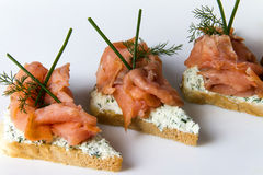 Salmon fillet on bread slice. With vegetables and cheese Royalty Free Stock Photos