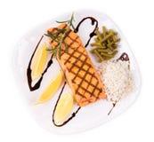 Salmon Fillet con risotto Fotografia Stock Libera da Diritti