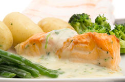 Salmon fillet in a cream sauce Stock Photo