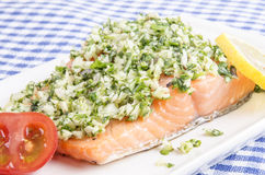 Salmon fillet with crushed herbs. Tomato and lemon Royalty Free Stock Photos