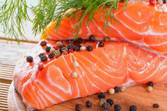 Salmon fillet with dill Stock Photo