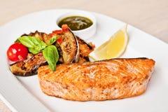 Salmon fillet with eggplants Stock Photo