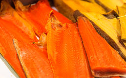 Salmon fillet, fish market of Bergen, Norway. Stock Photos