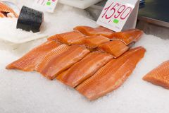 Salmon fillet at fish market. Fresh fish and healthy meal rich i. N unsaturated fat. Healthy meal Royalty Free Stock Photo