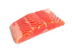 Salmon Fillet fresco su fondo bianco fotografia stock
