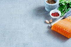 Salmon fillet with fresh ingredients. Portion of salmon fillet with fresh ingredients for tasty cooking on grey background, border, selective focus. Healthy or Royalty Free Stock Images