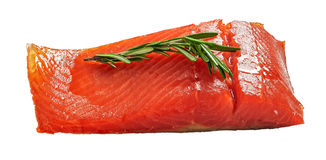Salmon fillet with fresh rosemary isolated on white Royalty Free Stock Photography