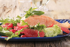 Salmon fillet and fresh salad Stock Photo