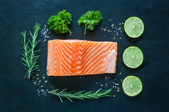 Salmon fillet with garnish on blackboard Royalty Free Stock Photography