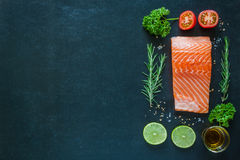 Salmon fillet with garnish on blackboard Royalty Free Stock Images