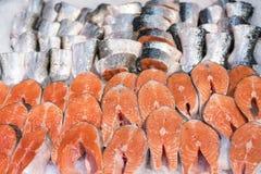 Salmon Fillet in ghiaccio sul contatore del supermercato Immagine Stock Libera da Diritti