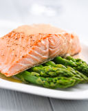 Salmon Fillet on Green Asparagus Stock Image