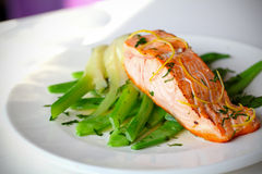 Salmon fillet with green beans. And fennel with lemon zest stock image