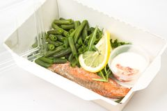 Salmon fillet with green beans stock photos