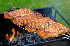Salmon fillet on the grill . Grilled fish with spices on fire.Salmon fillet on the grill and flame Royalty Free Stock Photography