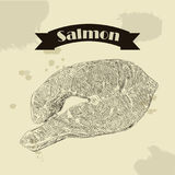 Salmon fillet hand drawn vector illustration. Engraved style vintage seafood. Great for Fish and sea food restaurant menu, flyer, card, business promote Stock Photos