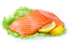 Salmon fillet isolated on white. Background Royalty Free Stock Images
