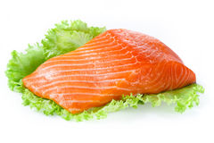 Salmon fillet isolated on white Royalty Free Stock Photo