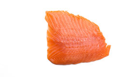 Salmon fillet isolated on white background. With copy-space, close-up Stock Images