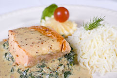 Salmon fillet a la carte meal Stock Photos