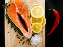 Salmon fillet with  lemon Stock Photo